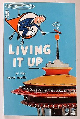 circa 1963 LIVING IT UP At The  Seattle Space Needle POST World's Fair postcard