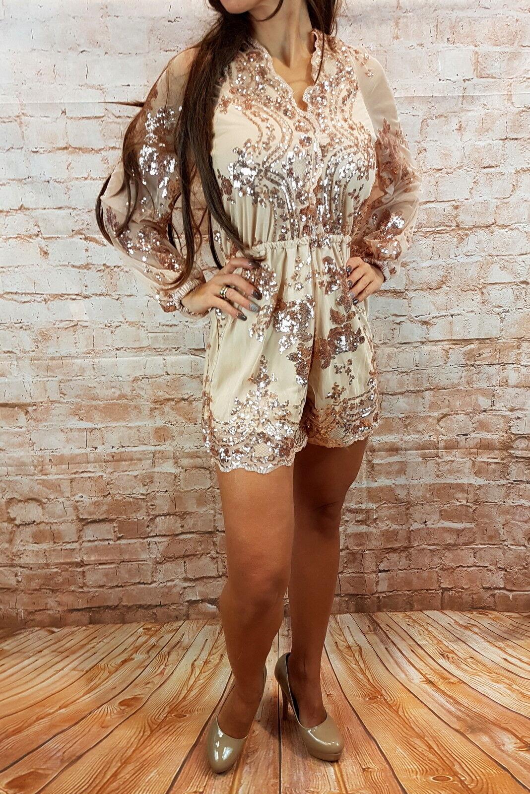 Damen Kleid mini  Overal Glitzer Sexy Gold Schwarz Pailetten Jumpsuit Glitzer