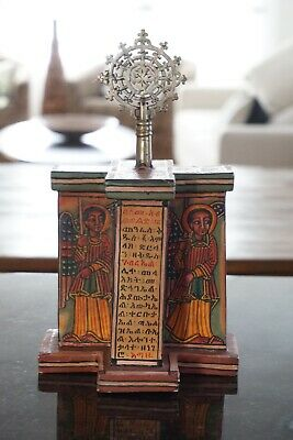 Ethiopian Icon Miniature Of Lalibela Church With Coptic Cross & Ge'Ze Scripts