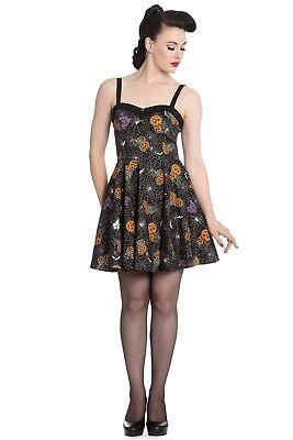 Hell Bunny Harlow Mini Dress Halloween Spiderweb Pumpkin Goth 4618 FREE Ship - Bunnies Halloween