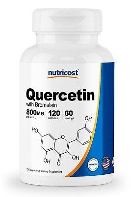 120 Mg 60 Capsules - Nutricost Quercetin 800mg, 120 Vegetarian Capsules With Bromelain - 60 Servings