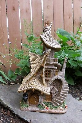 Fairy House Solar Resin Twisted Staircase Tree House Stratagem Whimsical 13 in. New
