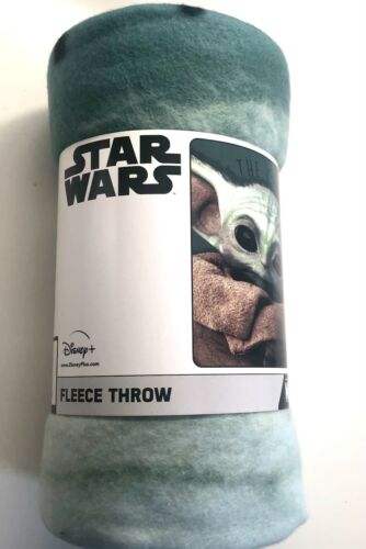 "Disney Baby Yoda BLANKET 45"" x 60"" FLEECE THROW Star Wars Mandalorian"