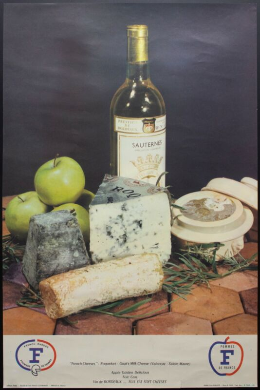 c.1960 French Wine Cheese Products Advertising Poster Roquefort Valencay Vintage