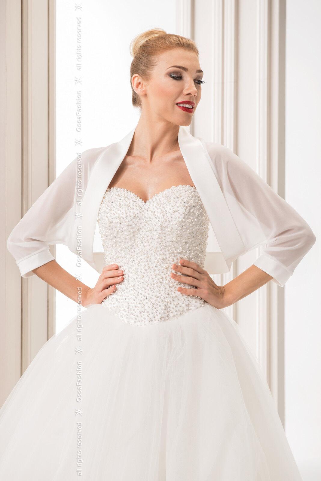 New Women White Ivory Chiffon Wedding Shawl Bridal Wrap Satin Edge Stole Bolero