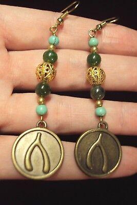 turquoise teal + green Jasper gemstone Wishbone gold drop dangle earrings luck
