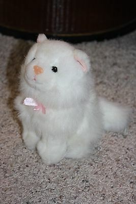 "ZANY BRAINY Plush RARE HTF White Kitten Cat Kitty Pink Nose Bow Ears 6""  #P2"