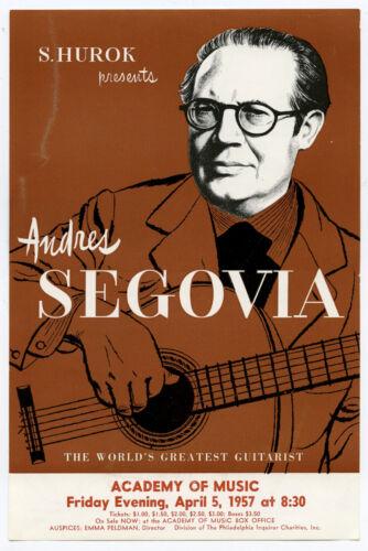 ANDRES SEGOVIA Original 1957 Concert Handbill / Flyer