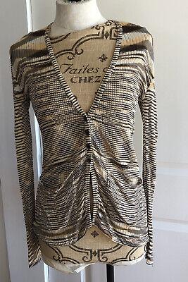 Missoni Women's Sweater Brown Beige Button Down Cardigan Lightweight Size 42/6
