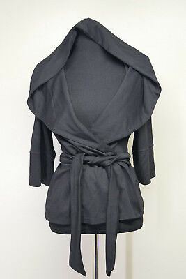 Adorn Black Hooded Shawl Collar Wrap Modal Jacket Top sz Med