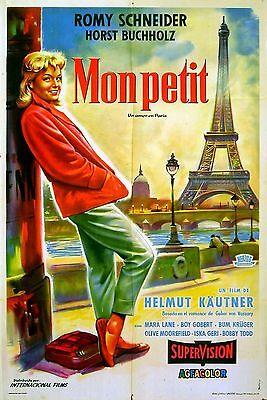 MONPTI 1957 Romy Schneider, Horst Buchholtz Paris Eiffel Tower ARGENTINE POSTER ()
