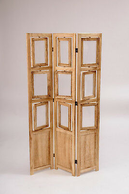 eHemco 3 Panel Folding Photo Screen/Room Divider in natural oiled vintage finish (Natural Finish Room Divider Screen)