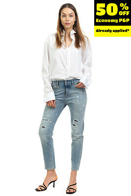 RRP €175 MAURO GRIFONI Jeans Size 26 Distressed Patched Boyfriend Made in Italy