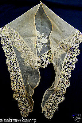 Antique Crochet Lace Embroidery Shawl Collar Hand Made Victorian Dress Trim Ecru