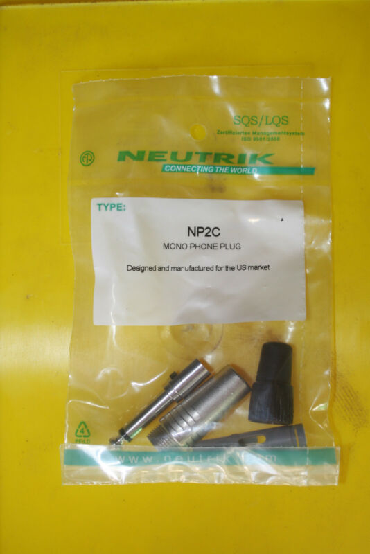 "Neutrik NP2C 2 pole 1/4"" professional phone plug, Nickel housing, Nickel contact"