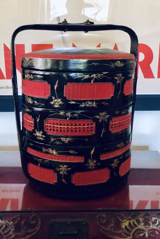 Extraordinary Antique Chinese Wedding Basket Hand Painted Lacquered 3 Tier