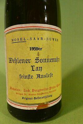 """Weißwein 1959er Wehlener Sonnenuhr Lay """"feinste Auslese"""" laut Etikett"""
