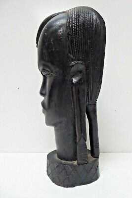 HAND CARVED AFRICAN EBONY TIMBER STATUE BUST FIGURINE
