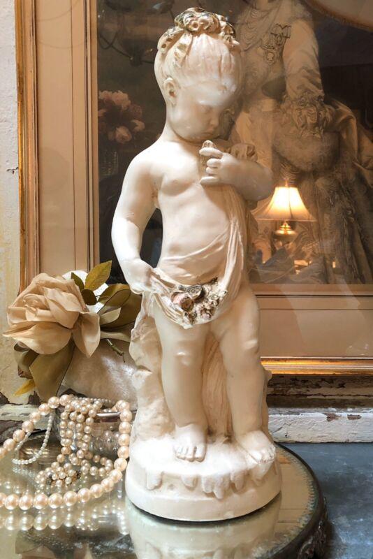 """Vintage Statue Child """"Putti"""" Face Chippy Paint Pastel Flowers Plaster"""