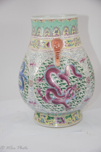 "12"" Old Qing Dy Fencai Porcelain Dragon Jar  w/ Dy  Mark. 1850-1899. Over 6 lbs."