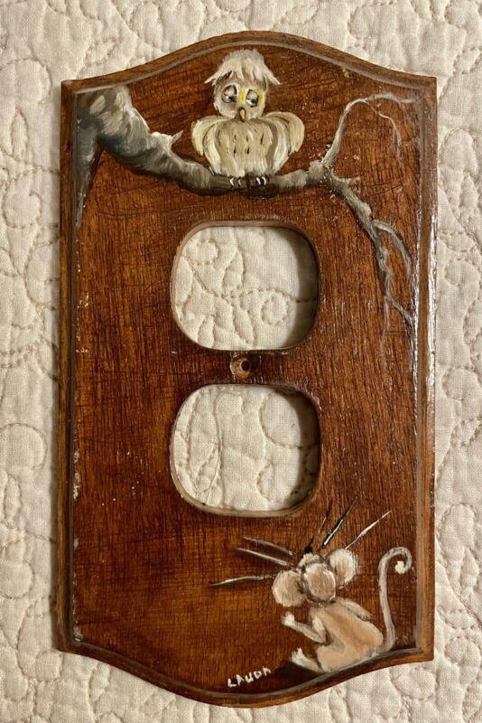 Vintage Owl Outlet Plate Cover Artist Signed