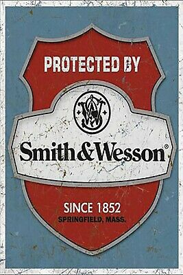 US SELLER, Protected by Smith & Wesson Manufacturer metal sign home accessories