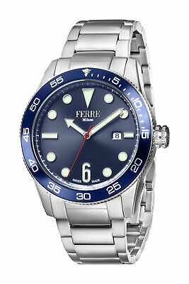 Ferre Milano Men's FM1G109M0051 Blue Dial Stainless Steel IP Date Wristwatch