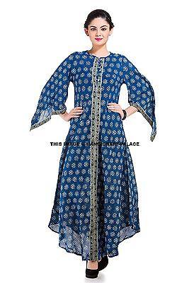 Mujer Informal Vestido Largo Para Maxi Kimono Manga Algodón Indio Azul Índigo M