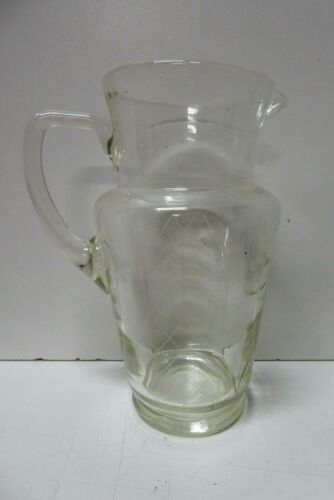 ANTIQUE VICTORIAN ETCHED GLASS WATER JUG