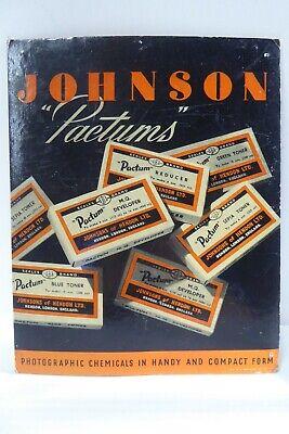 ORIGINAL VINTAGE ADVERTISING SIGN JOHNSON PACTUM CAMERA SHOP PHOTOGRAPHY SUPPLY