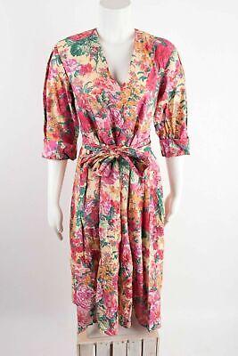Zara Womens Midi Dress XS Pink Yellow Floral A-line Short Sleeve 7727/042 NWT