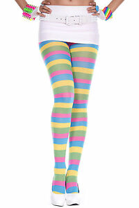 Music Legs Rainbow Stripe Opaque Tights Pastel Pantyhose Costume Stocking
