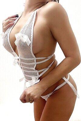 Netzkleid bodystocking Minidress Netz Kleid Weiss Strapse String sexy Dress