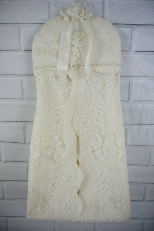 Vintage Baby White Lace And Satin Hanging Diaper Stacker Nursery Lacy Floral