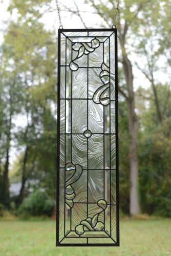 "10"" x 36"" Stunning Handcrafted stained glass Clear Beveled window panel"