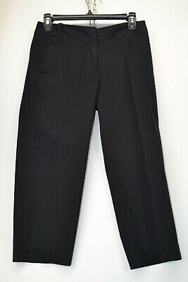 J Crew Womens Size 0 Black Stretch Chinos City Fit Cropped Pants NEW (C9)