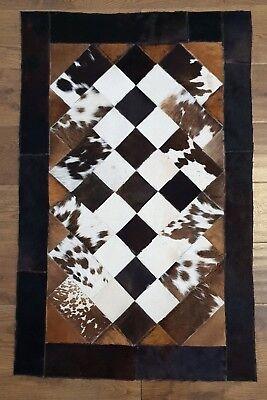 Cowhide Patchwork rug, Hair-On Fur Leather, Animal skin Cow Skin , Peau vache