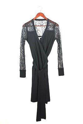 Men's 1920s Style Ties, Neck Ties & Bowties Diane Von Furstenberg DVF Womens Size Petite Black Dress Lace Wool Midi Wrap  $83.33 AT vintagedancer.com