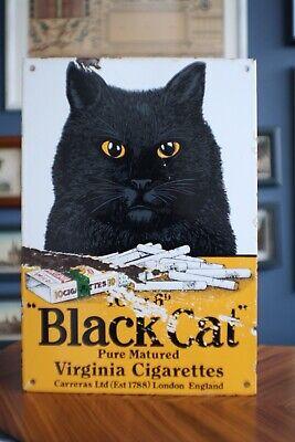 VINTAGE ENAMEL BLACK CAT CIGARETTES ADVERTISING SIGN