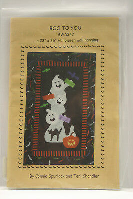 Halloween Wall Hanging Pattern, Boo to You, Quilted Welcome Banner for Fall - Boo For You Halloween