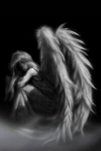 Framed-Print-of-a-Gothic-Angel-Sat-in-The-Mist-Picture-Poster-Wings-Art-B-W