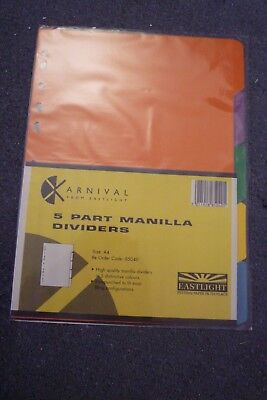 5 part manilla paper file dividers