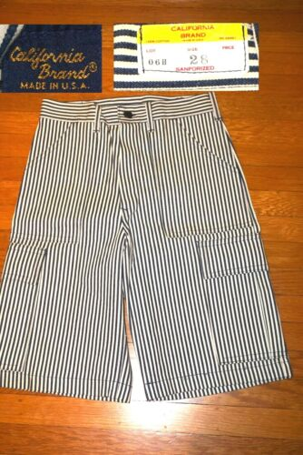 VINTAGE DEADSTOCK CALIFORNIA BRAND HICKORY STRIPE SHORTS NEW OLD STOCK USA made