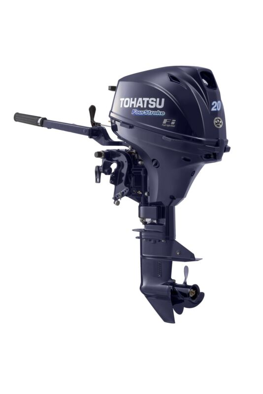 "2018 Tohatsu 20 Hp 4 Stroke Outboard Motor 15"" Shaft Tiller Efi"