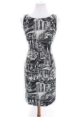 Chetta B Shift Sheath Dress Stretch vtg City Village Print Navy Blue Sz 6 Small](Chetta Print)