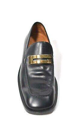 Gucci Unisex Size 8.5 Black Flats Gold Metal G Logo Vintage Classic 90s Loafers