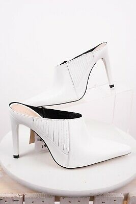 Zara Womens Heels Mules Pumps Clogs Sz 6.5 Eu 37 White Leather 5225/301 NWT