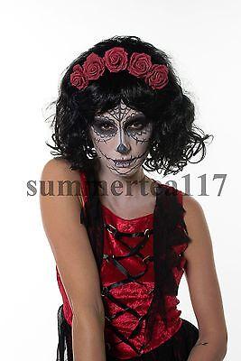 Mexican Day of The Dead Wig Adult Dia de Los Muertos Sugar Skull Look H0304](Sugar Skull Halloween Look)