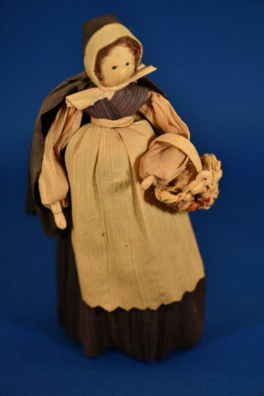 "Vintage Corn Husk Doll, 6"", Lady in black dress & cape w/ basket of potatoes"