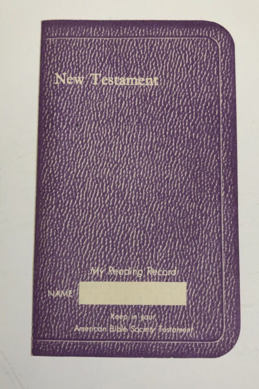 RARE FIND 1950s My Reading Record New Testament Bible reading tracker